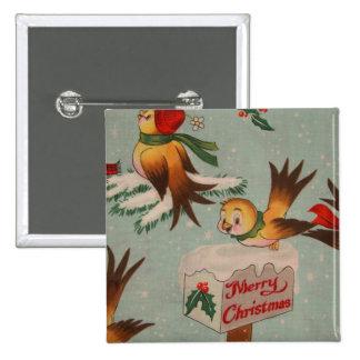 Pájaros del vintage de las Felices Navidad Pin Cuadrada 5 Cm