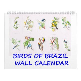 Pájaros del vintage del calendario de pared del