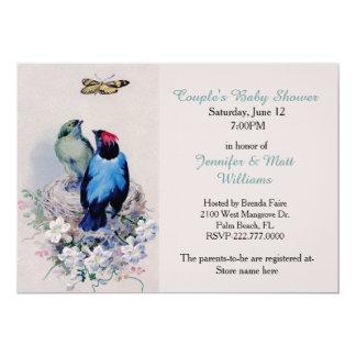 Pájaros del vintage en la invitación de la fiesta invitación 12,7 x 17,8 cm