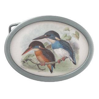 Pájaros del vintage hebillas cinturon ovales