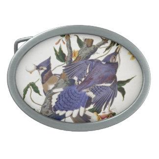 Pájaros del vintage hebilla de cinturon oval
