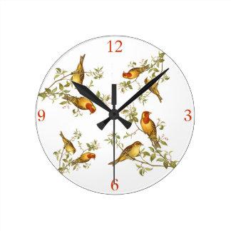 Pájaros del vintage reloj redondo mediano