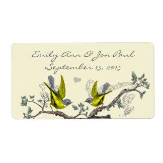 Pájaros del vintage reserva amarilla y del gris lo etiquetas de envío
