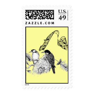 Pájaros del vintage franqueo