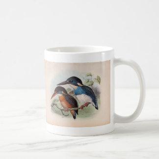 Pájaros del vintage taza básica blanca