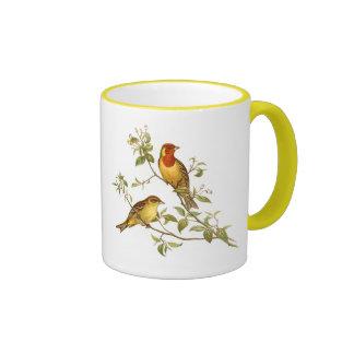 Pájaros del vintage taza a dos colores