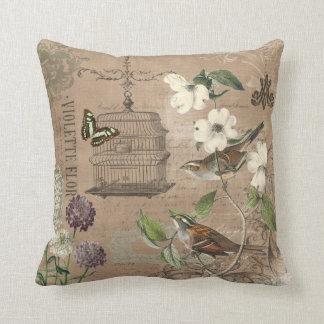 Pájaros del vintage y almohada franceses del