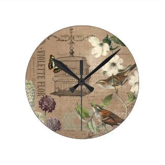 Pájaros del vintage y reloj de pared franceses del