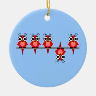 pájaros divertidos ornamento de navidad