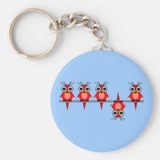 pájaros divertidos llavero redondo tipo pin