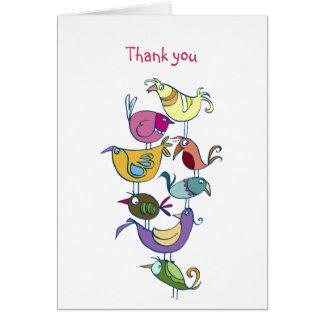 Pájaros divertidos tarjeta pequeña
