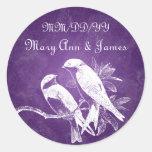 Pájaros elegantes del amor de la fecha del boda pegatinas redondas