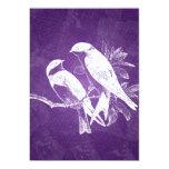 Pájaros elegantes del amor del boda púrpuras anuncios personalizados