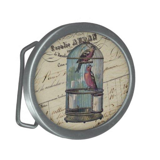 Pájaros elegantes franceses del amor del Birdcage  Hebilla Cinturon