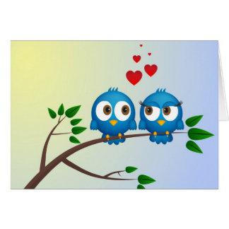 Pájaros en amor felicitacion