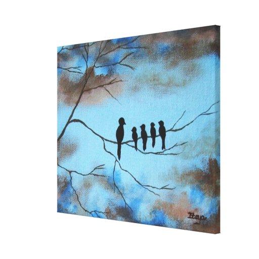 Pájaros en árbol en arte abstracto del día de impresiones en lona
