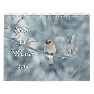 Pájaros en calendario del invierno 2015