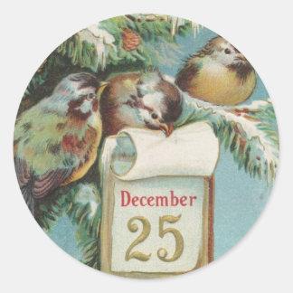 Pájaros en Decemeber 25to Pegatina Redonda