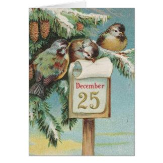 Pájaros en Decemeber 25to Tarjeta De Felicitación