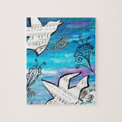 Pájaros en el jardín puzzles con fotos