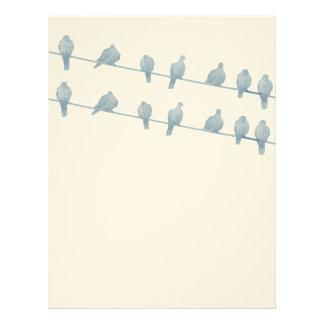 Pájaros en el papel con membrete del alambre II Plantillas De Membrete