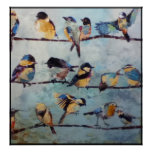 Pájaros en el poster de la pintura del alambre