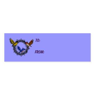Pájaros en etiqueta púrpura del regalo de la foto tarjetas de visita