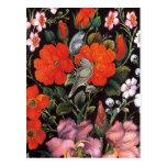 Pájaros en flores rojas arte oriental elegante postales