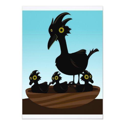 """pájaros en jerarquía invitación 5"""" x 7"""""""