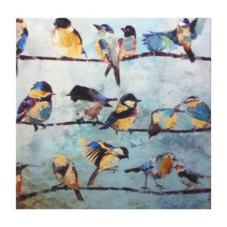 Pájaros en la impresión de la lona del alambre impresión en lienzo estirada
