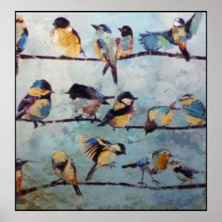 Pájaros en la impresión de la pintura del alambre poster