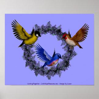 Pájaros en la impresión púrpura del poster de la g