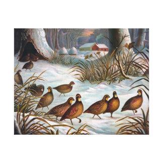 Pájaros en la pintura del vintage de la nieve lienzo envuelto para galerías