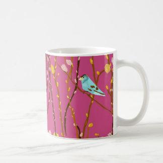 Pájaros en la taza de los sauces de gatito