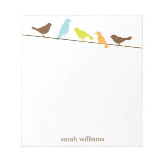 Pájaros en las libretas personalizadas un alambre libretas para notas