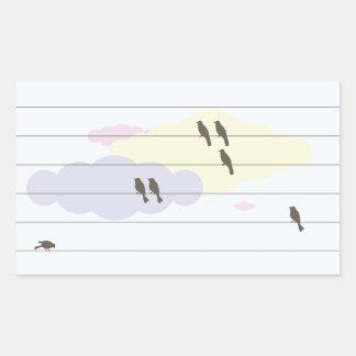 Pájaros en los alambres pegatina rectangular