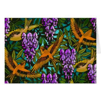 Pájaros en medio de glicinias tarjeta de felicitación
