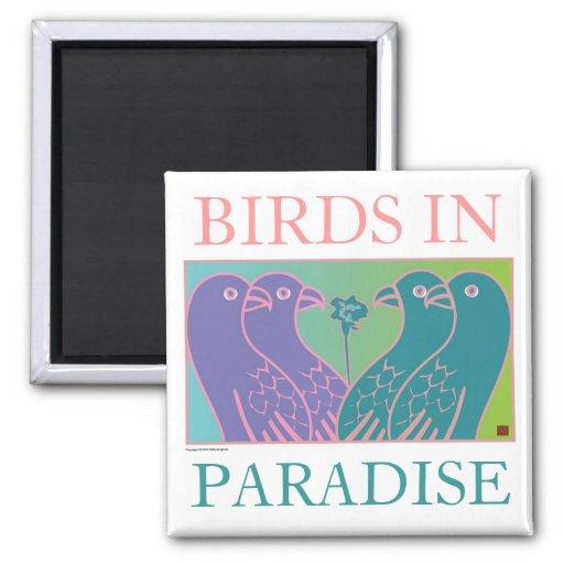 Pájaros en paraíso imán de frigorifico