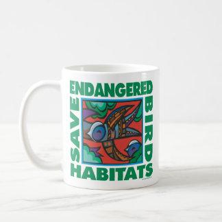 Pájaros en peligro taza de café
