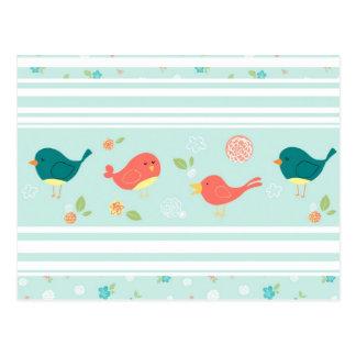 Pájaros en rayas con las flores postales