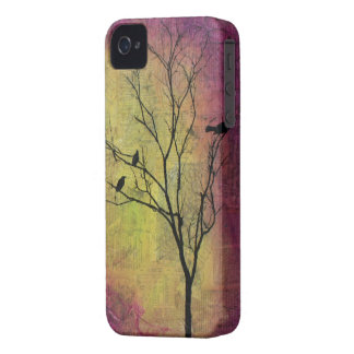 Pájaros en silueta del árbol carcasa para iPhone 4