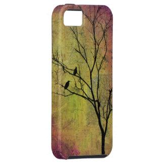 Pájaros en silueta del árbol iPhone 5 funda