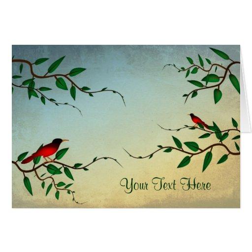 Pájaros en tarjetas de una nota de la vid