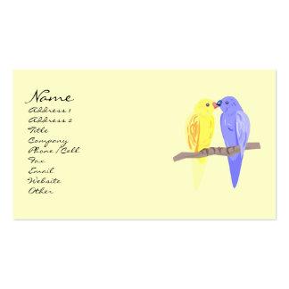 Pájaros en tarjetas de visita del amor