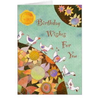 Pájaros en tierra de la flor: Tarjeta de