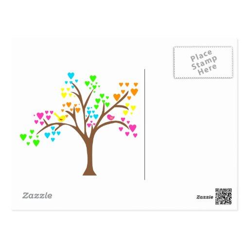 Pájaros en un árbol del corazón tarjetas postales