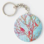 Pájaros en un árbol llavero personalizado