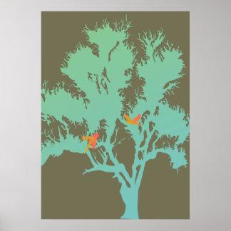 Pájaros en un árbol póster