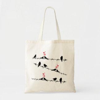 Pájaros en un bolso de compras del alambre bolsa tela barata