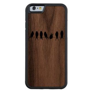 Pájaros en un iPhone de madera 6 de la nuez de la Funda De iPhone 6 Bumper Nogal